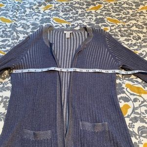 Chico's Sweaters - Chico's Blue Grey Ribbed Open Cardigan EUC 0 or S